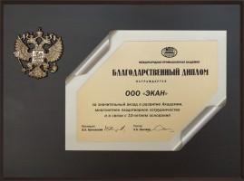 Благодарственный диплом Международной промышленной академии к 10‑летию компании